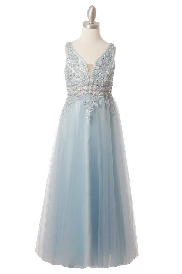 blue long tulle dress