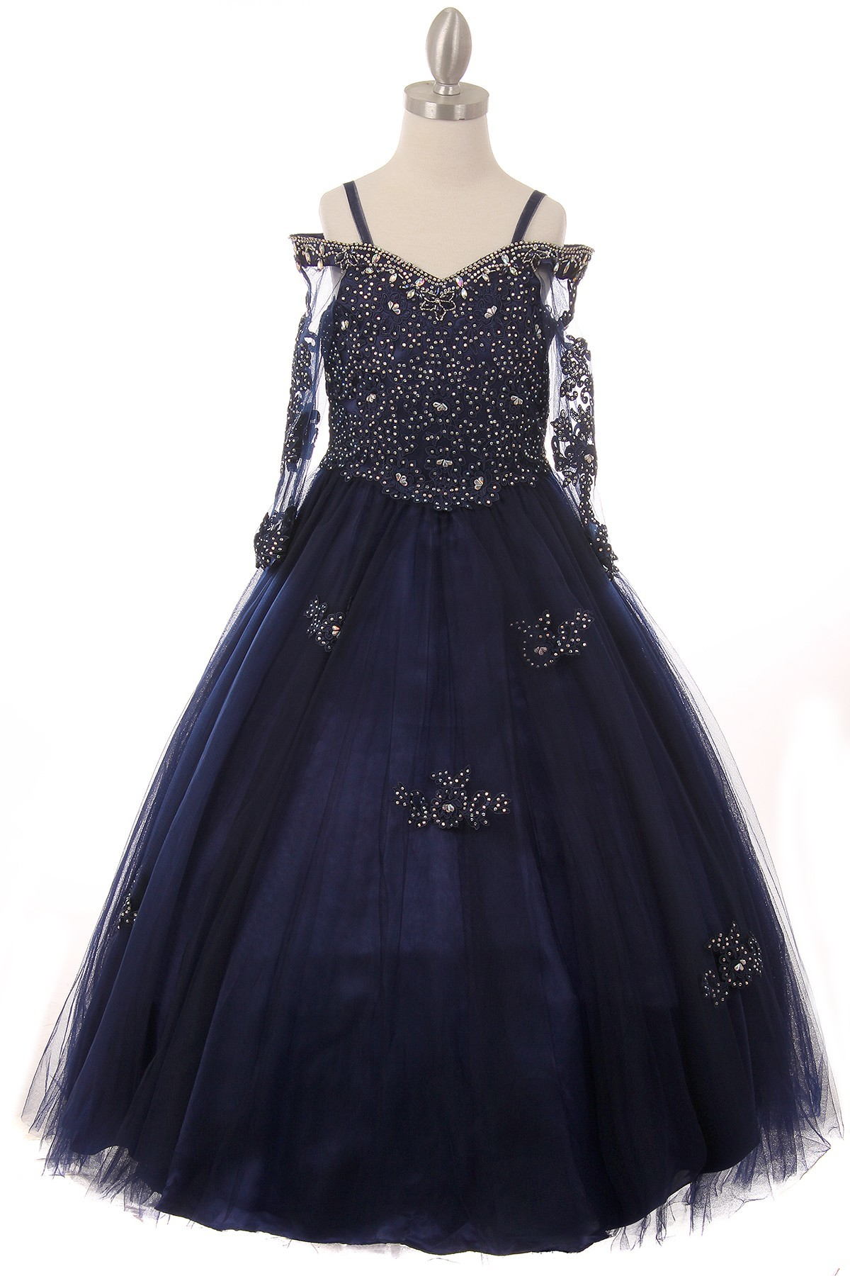 navy blue pageant dresses for little girls