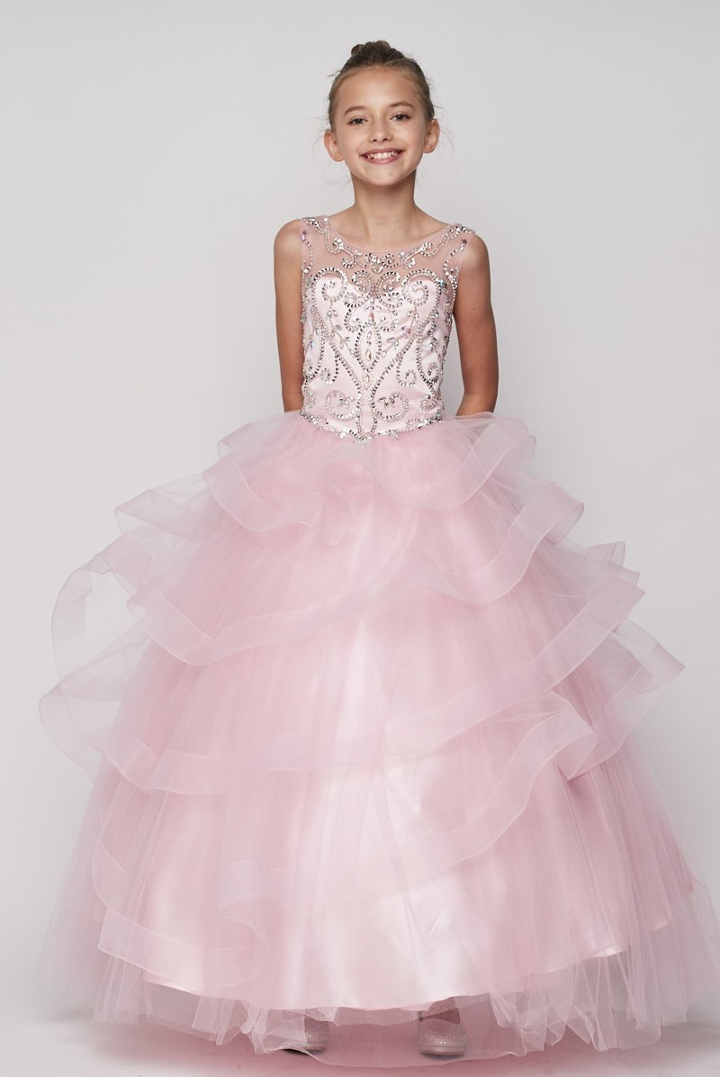 girls pink pageant dress