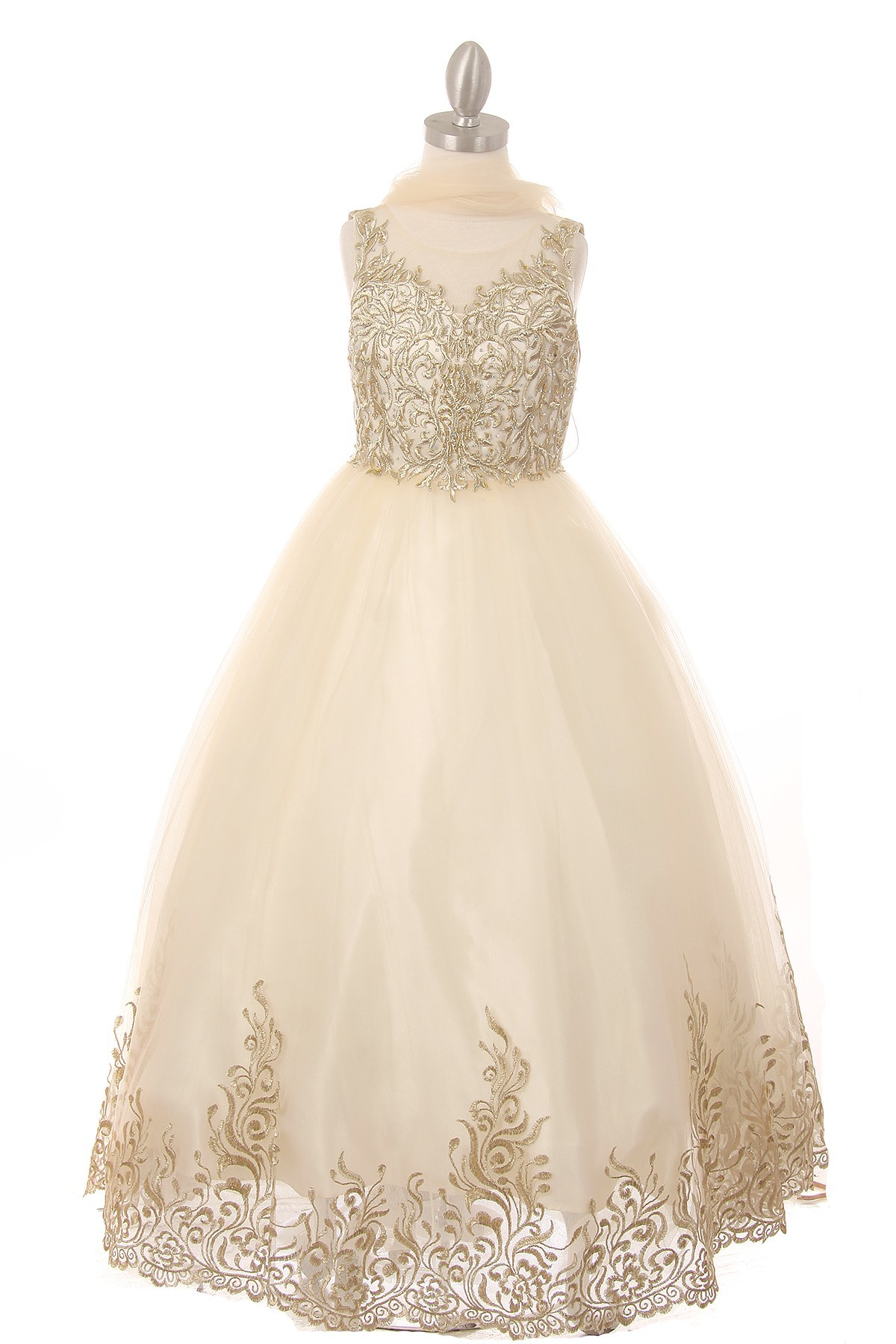 girls formal champagne dress
