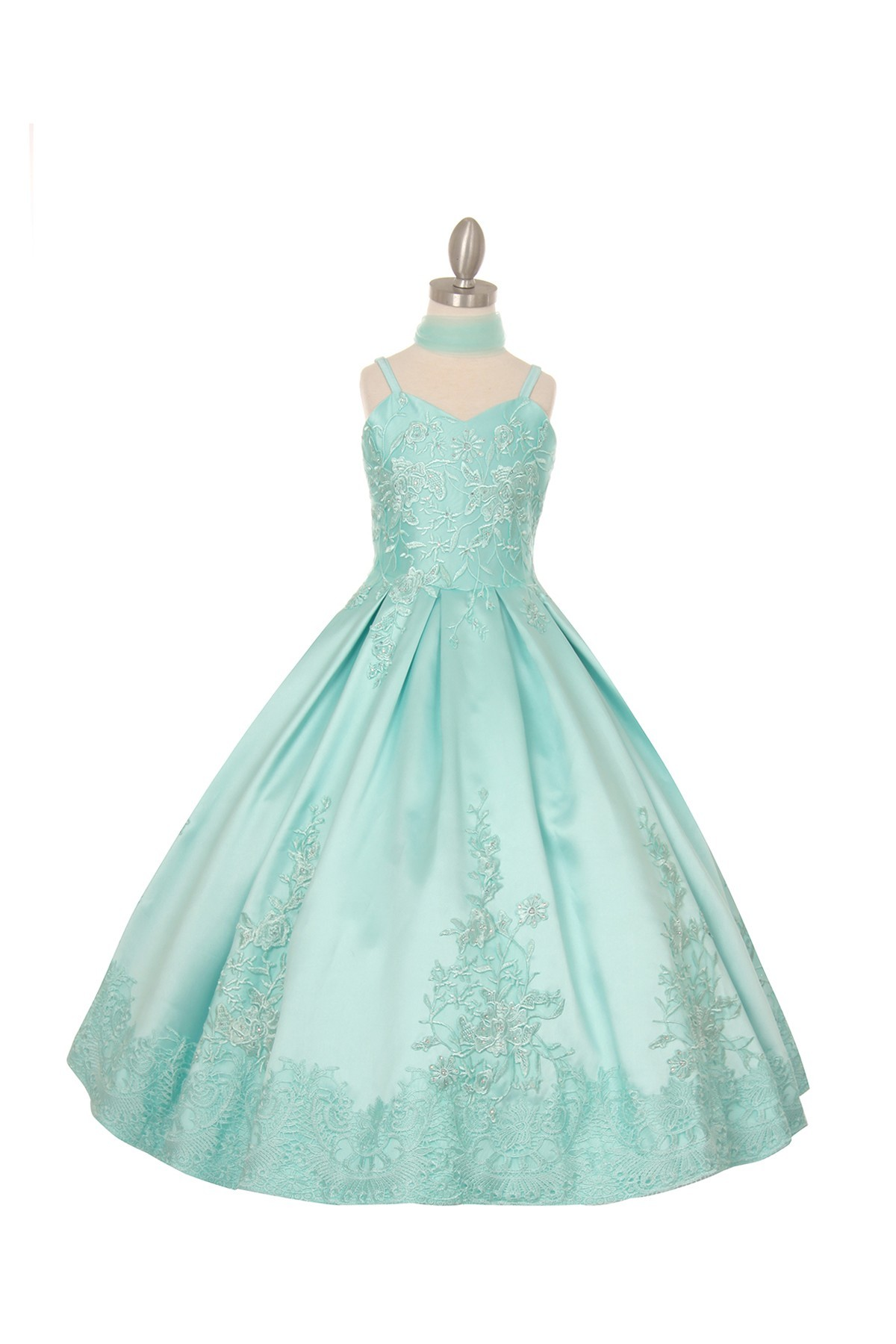 Junior bridesmaids long sweetheart embroidery rhinestone dress.