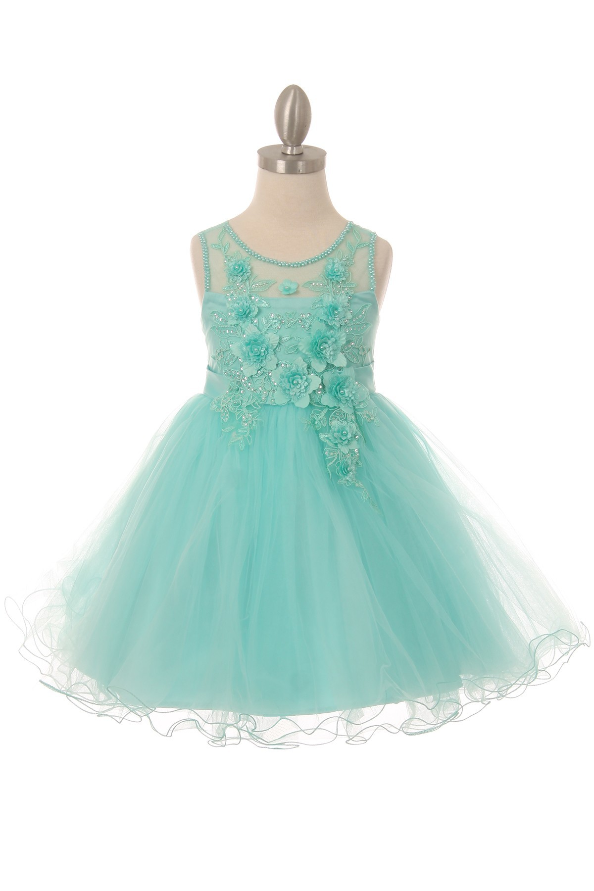 Girls short floral tulle lace dress with illusion neckline, and bow back.