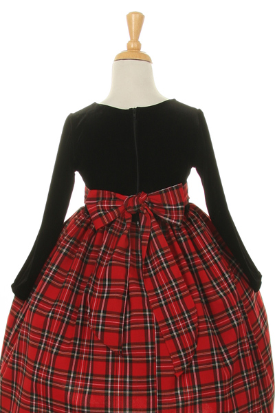 girls red plaid and velvet christmas dress