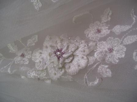 Tulle flower girl dress embroidery detail