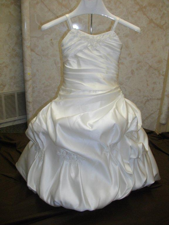 light ivory satin flower girl dress