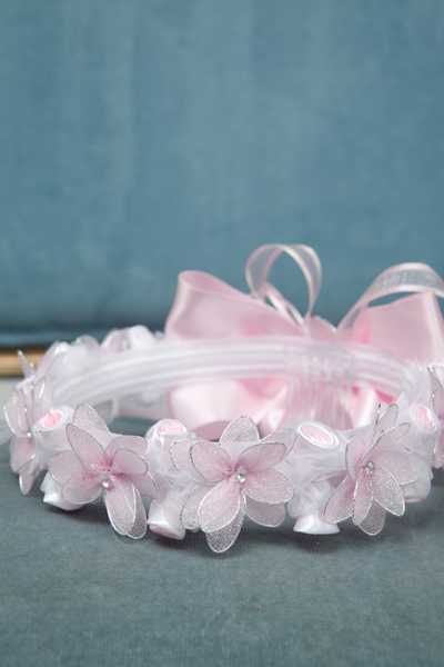 pink sparkly floral head wreath