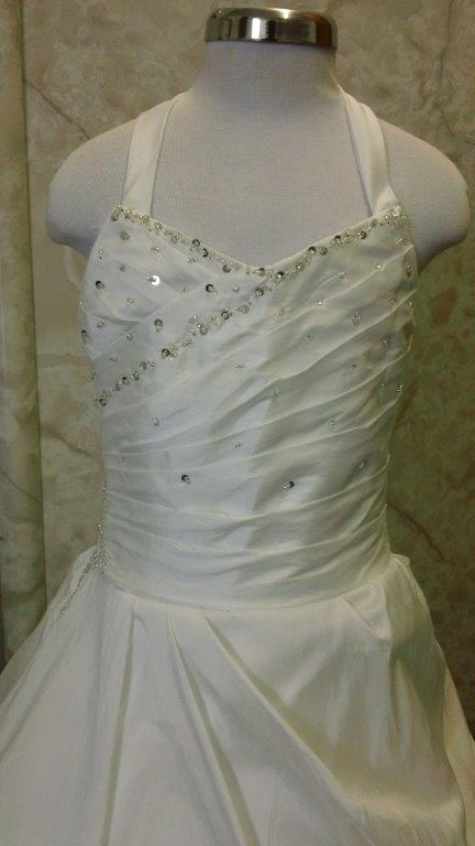 ivory flower girl dress with silver beaded bodice