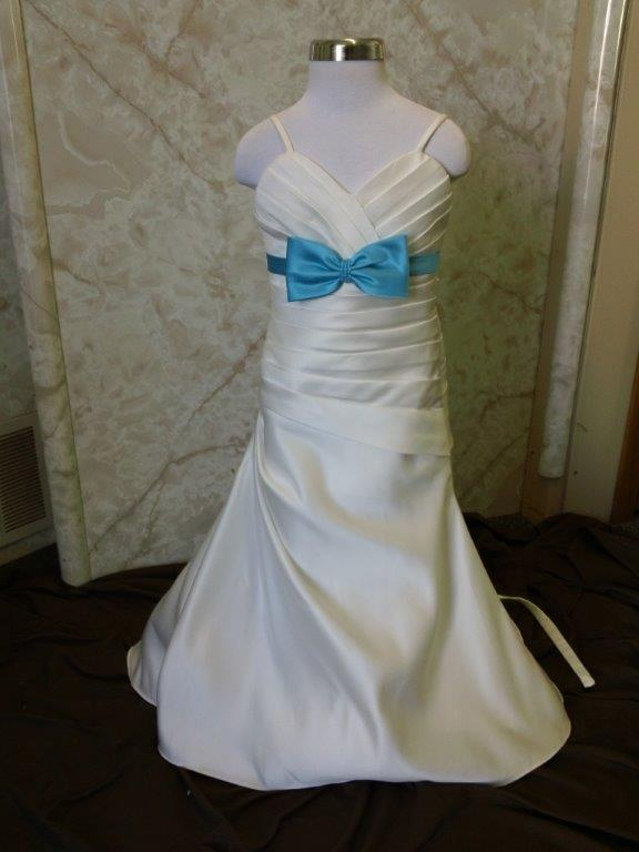 ivory flower girl dress with blue