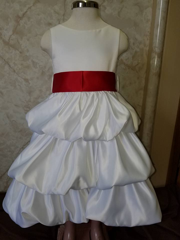 white and red bubble dress