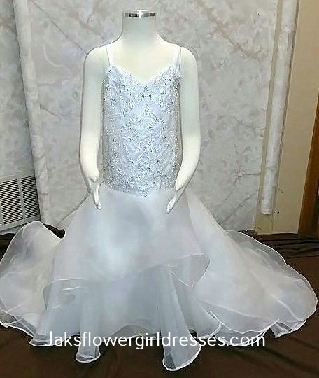 Tiny flower girl dress with train