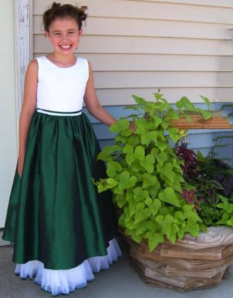 green and white flower girl dresses