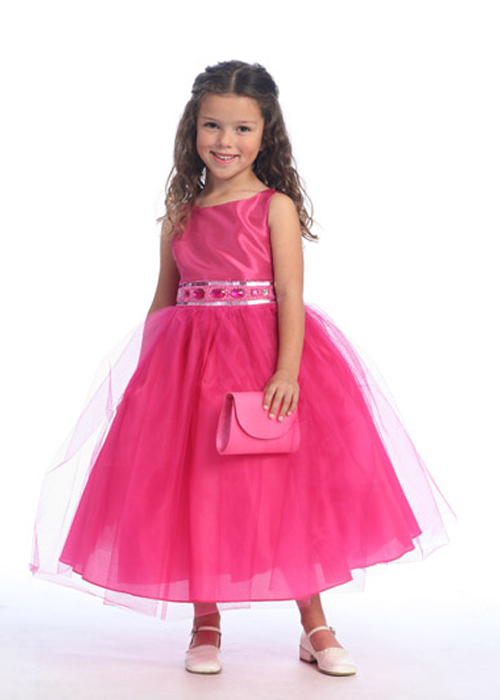 Fushia ankle length kids dress