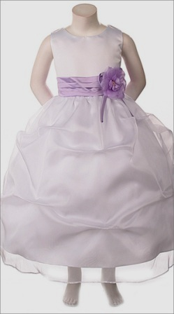 white and lilac flower girl dress