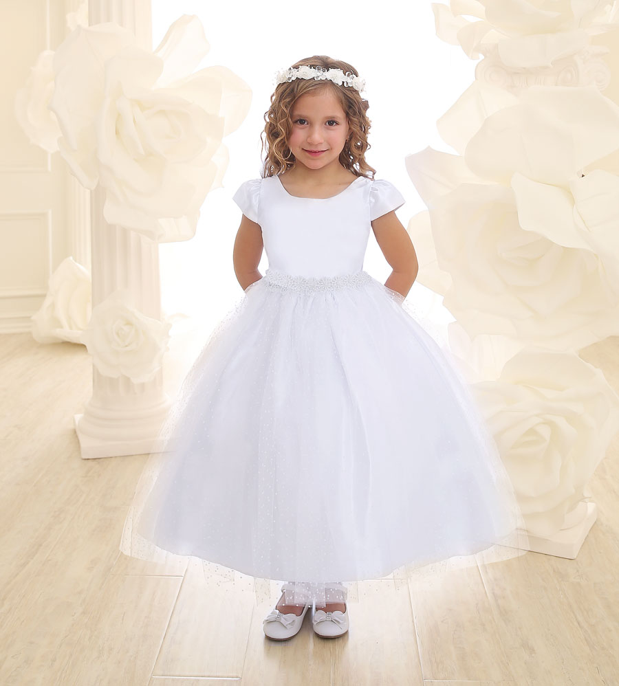 girls white polka dress