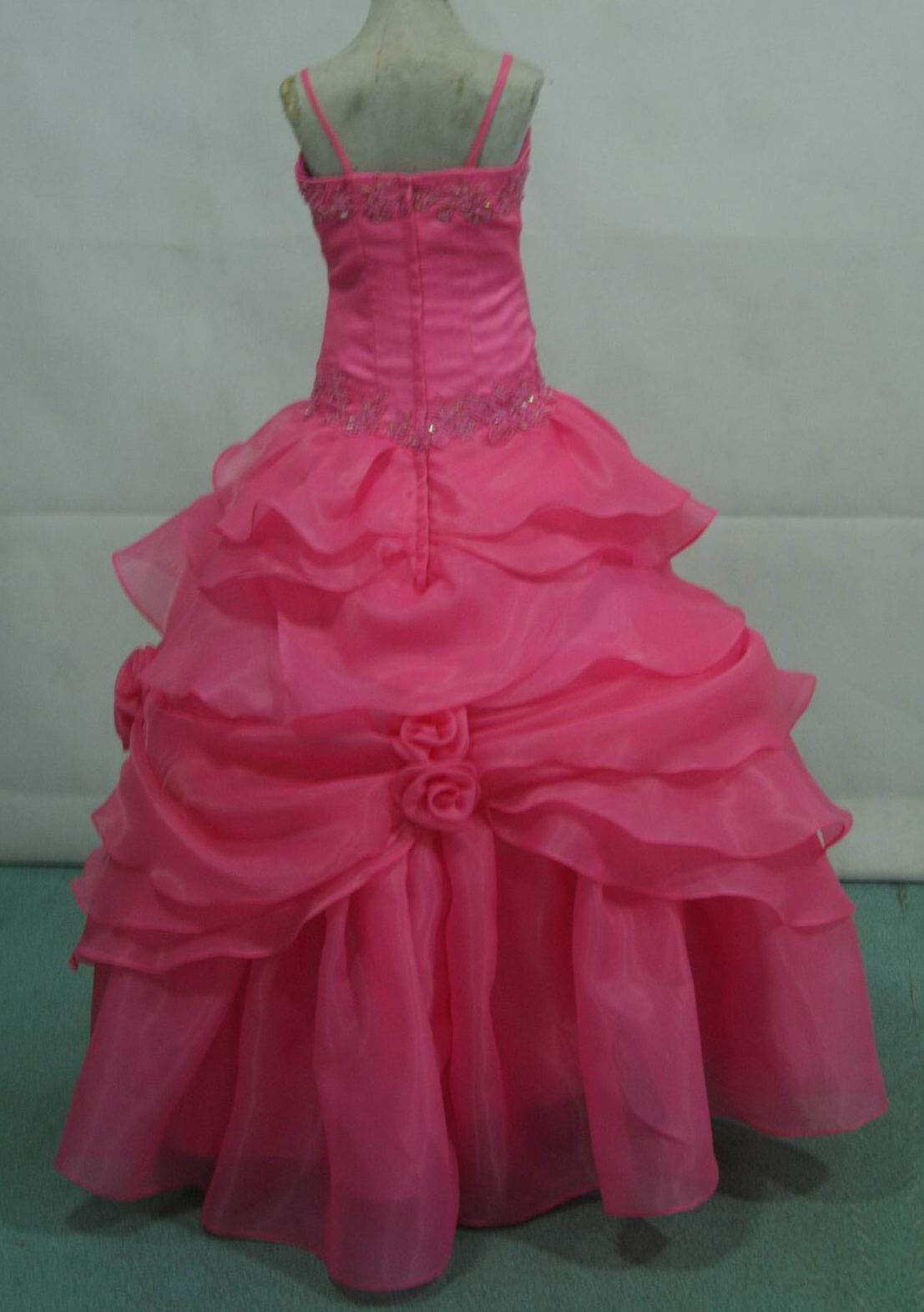 coral organza pickup pageant dress