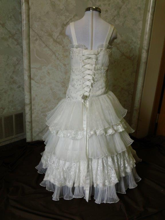 accordion pleated organza tiered ruffle flower girl