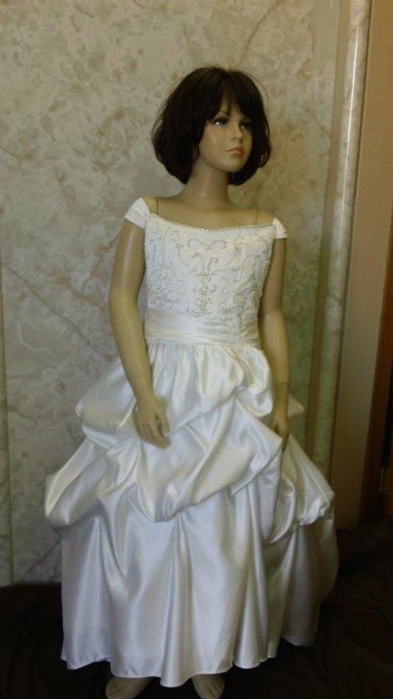 ivory bridal gown with pickup skirt
