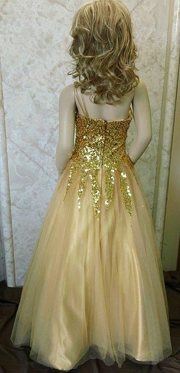 gold sequined pageant dress