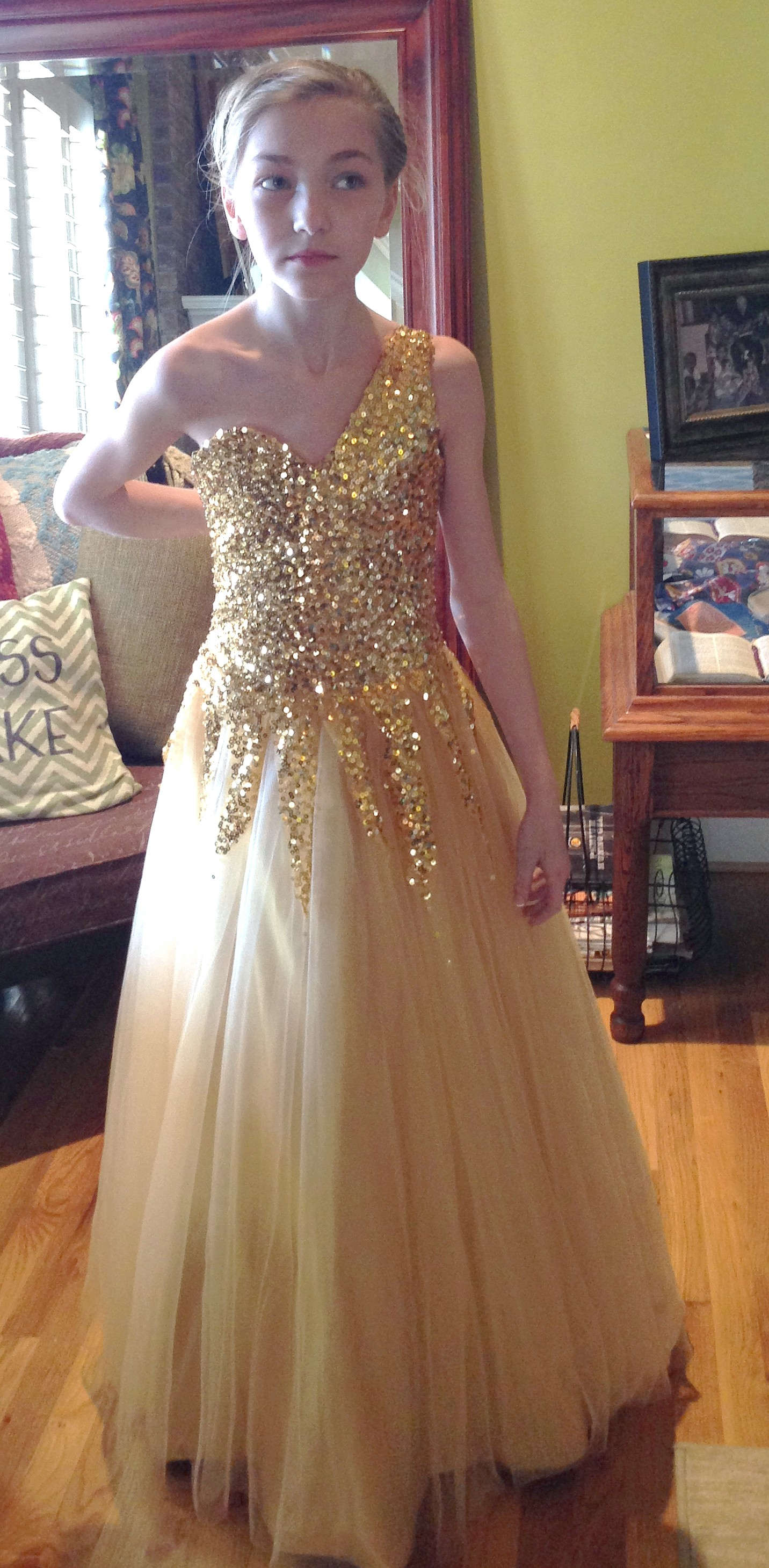 Girls gold one shoulder sequined pageant dresses