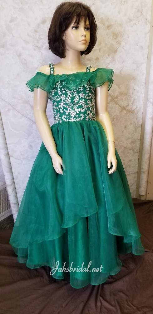 girls green pageant dress