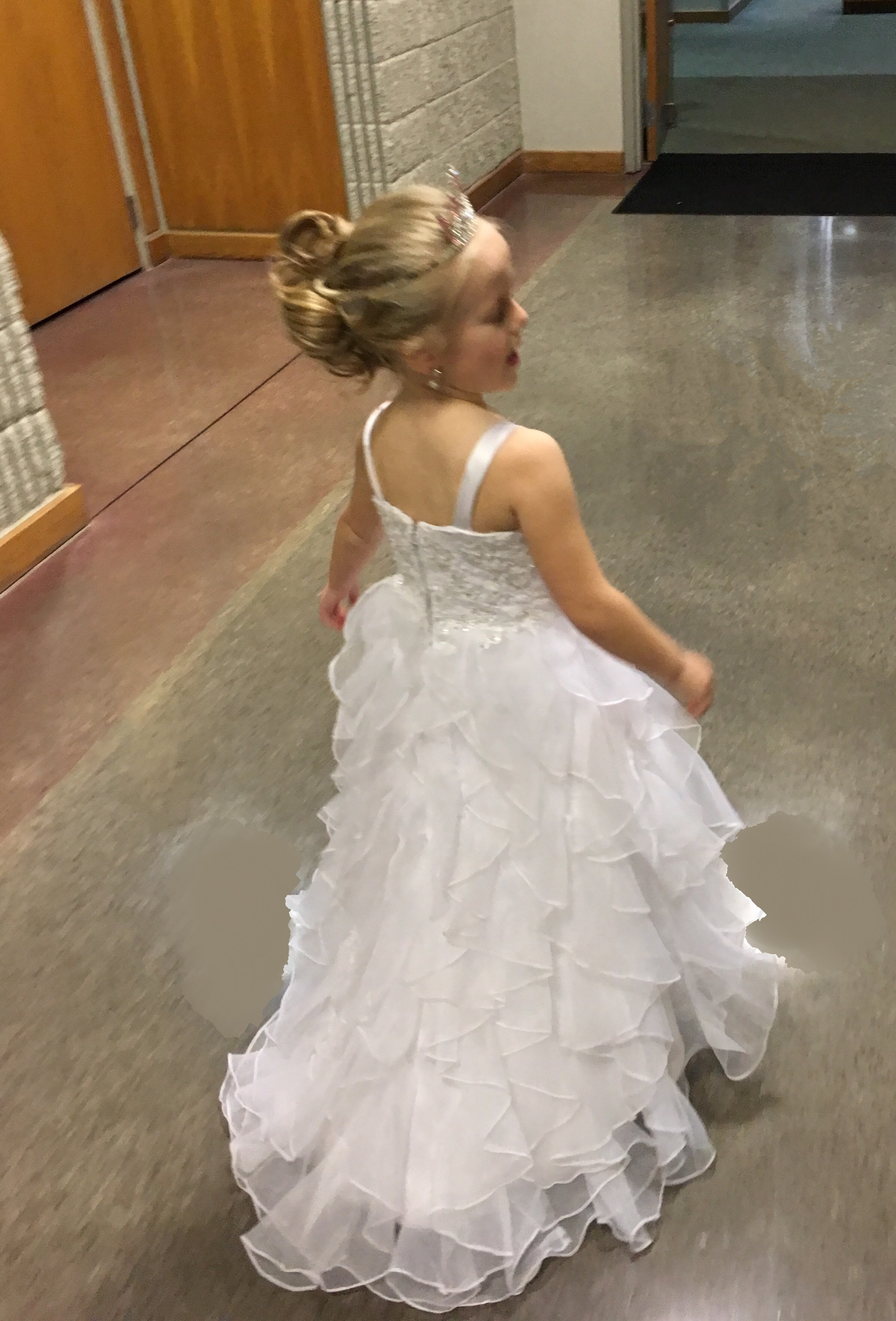 ruffled organza flower girl dress