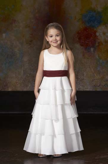 sleeveless tiered flower girl dress with sash