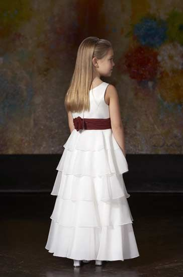 Chiffon long tiered flower girl dress