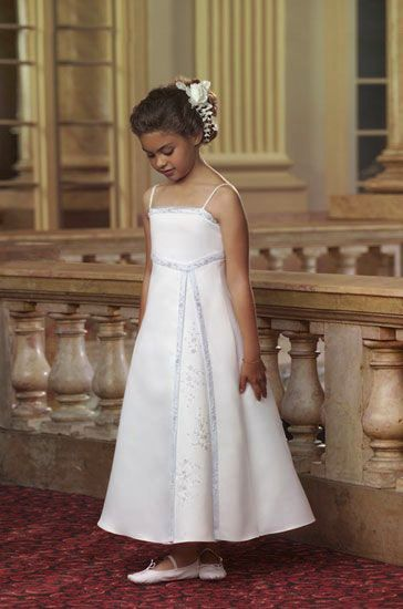 Spaghetti strap tea length flower girl dress