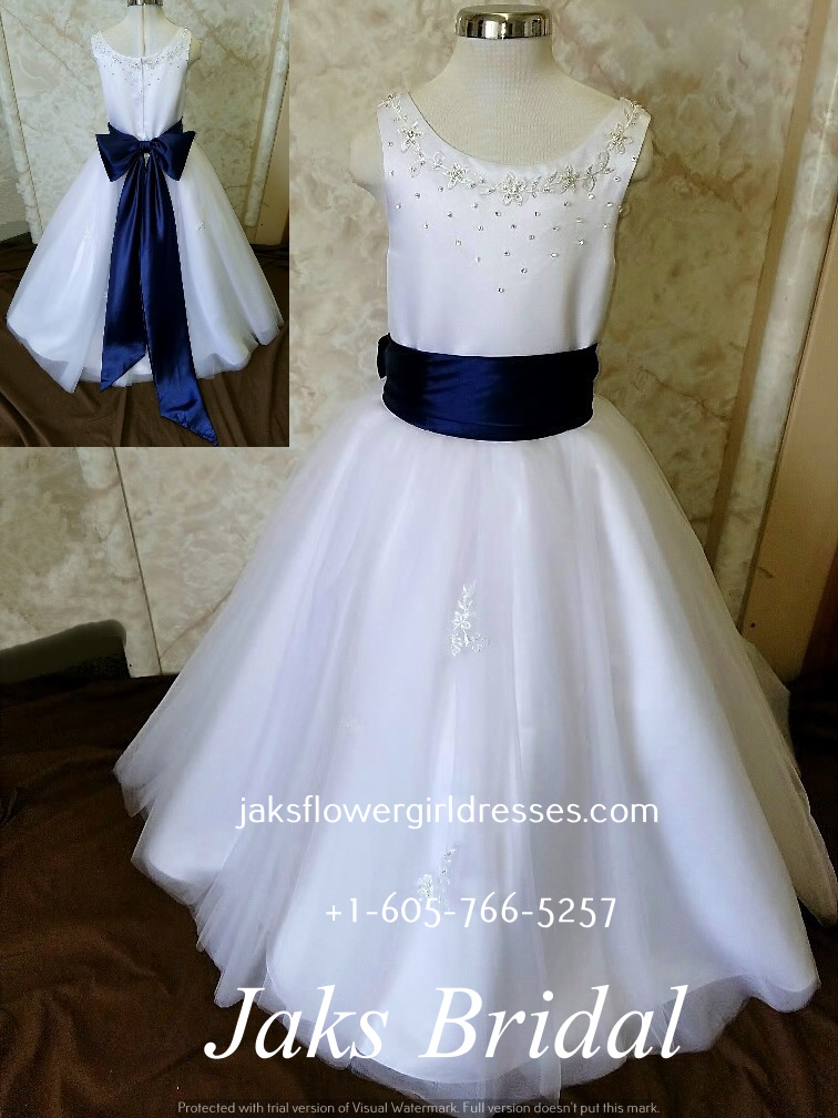 white dresses for girls  with blue sash