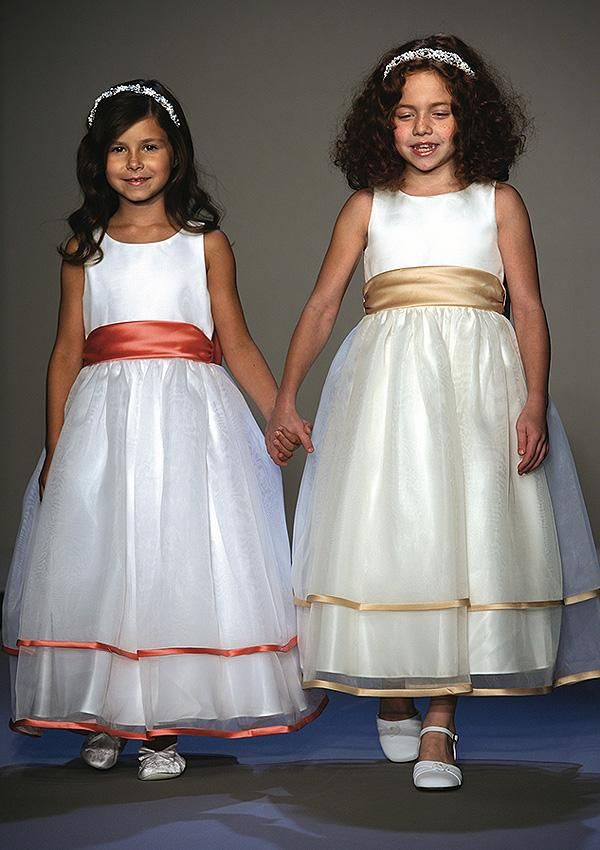 gold and coral flower girl dresses with sashes
