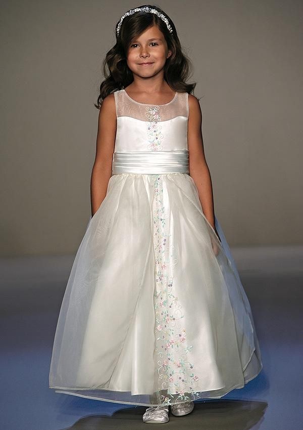 sheer neckline flower girl dresses