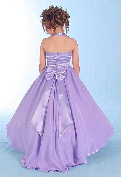 purple halter dress with small train