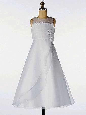 organza communion dress with layered split side skirt