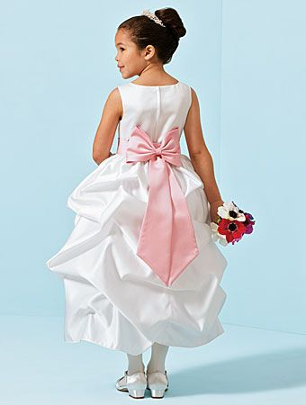 White and pink flower girl dresses