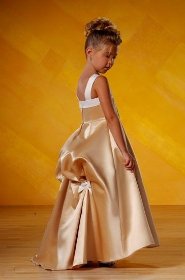 pageant girls gold dress