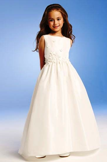 Long sleeveless applique flower girl dress