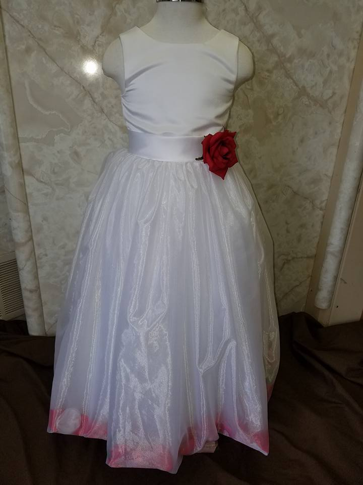 white dress with red petals