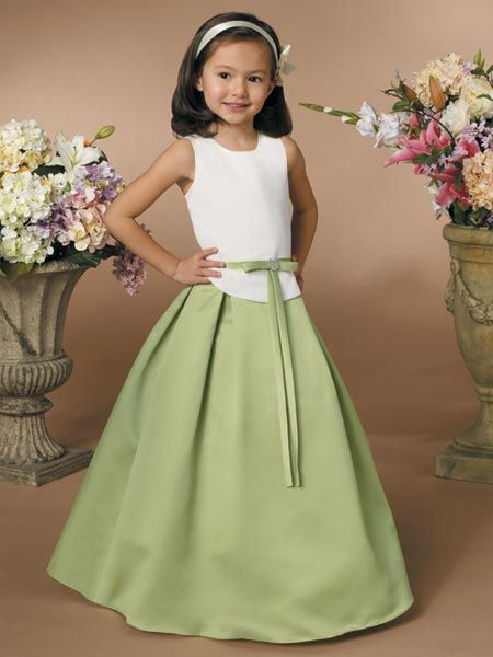 Lime green and white flower girl dresses