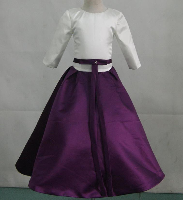 Grape Ivory Flower Girl Dresses