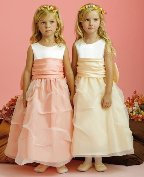 Sleeveless Tank Bodice Organza Flower Girl Dresses with Sash and Pick Up skirt