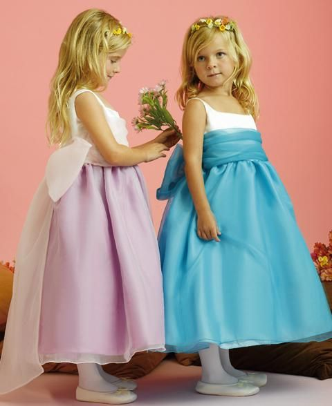 lilac and sky blue flower girl dresses