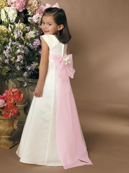 White and Pink Flower Girl dress with floor length sash