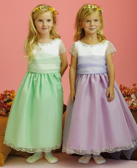 Celadon or  lilac organza short sleeve flower girl dresses
