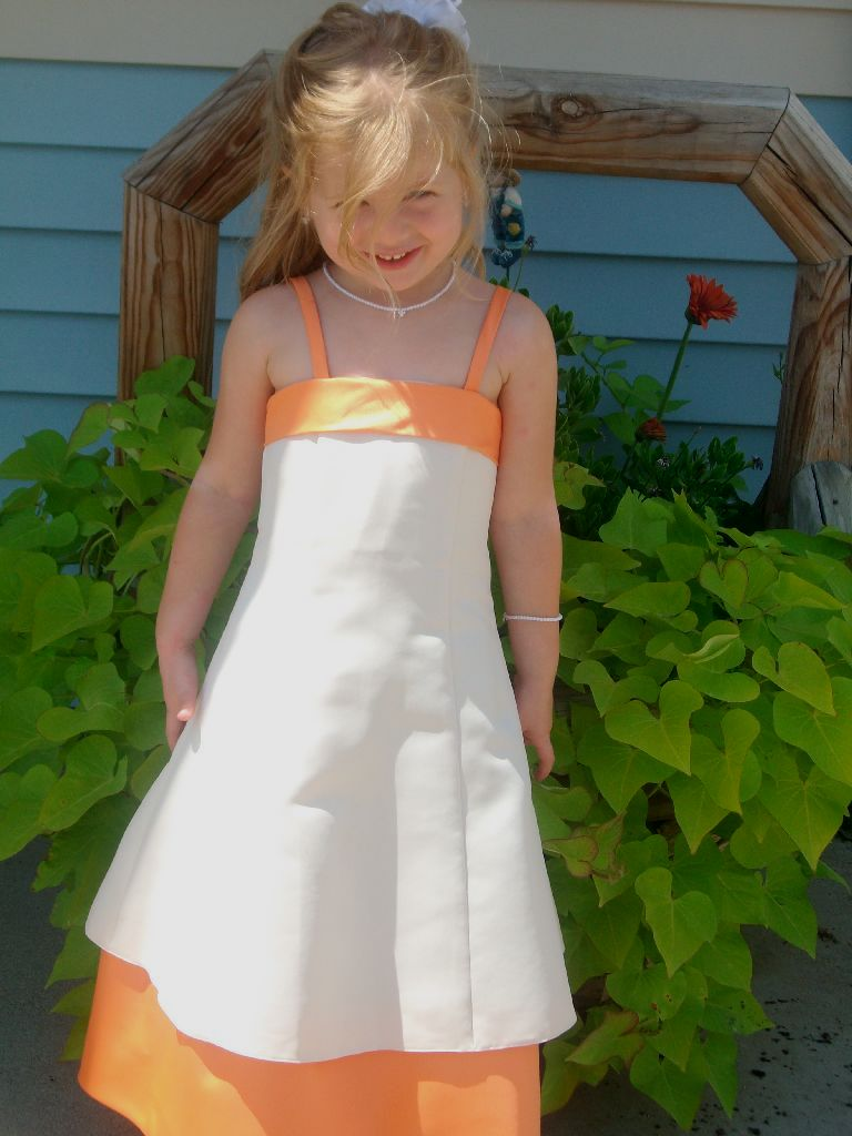 tangerine flower girl dress $40