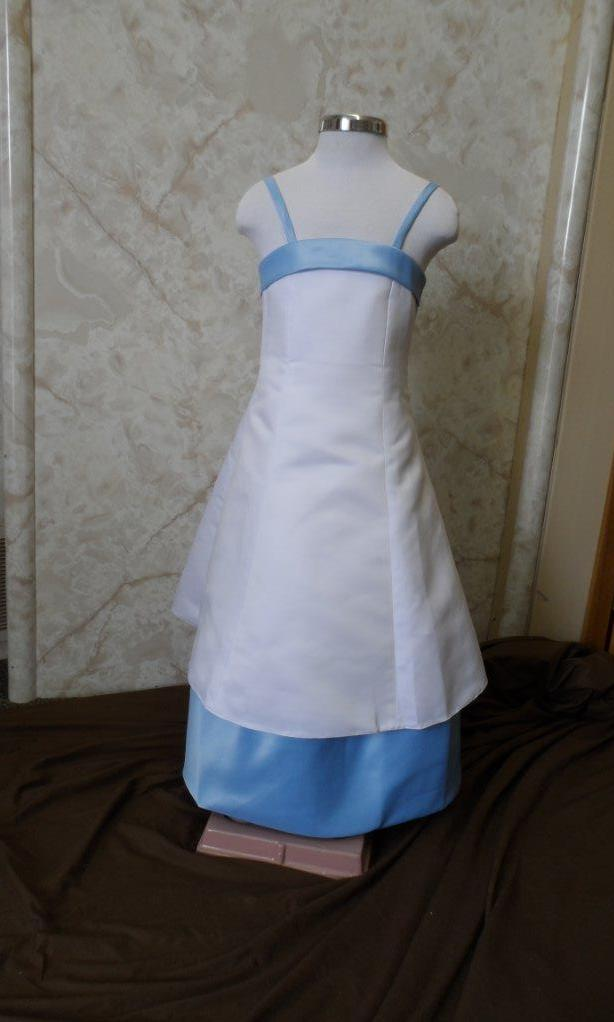 White with baby blue flower girl dresses
