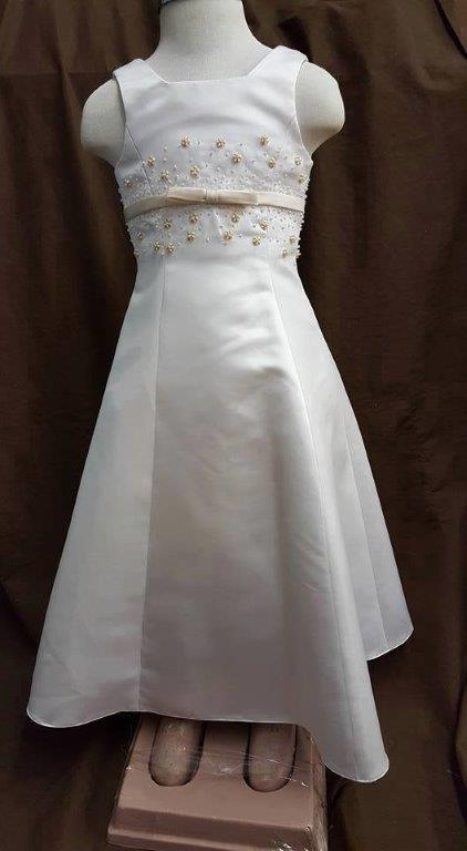white with champagne sash, sequins, and pearl beads