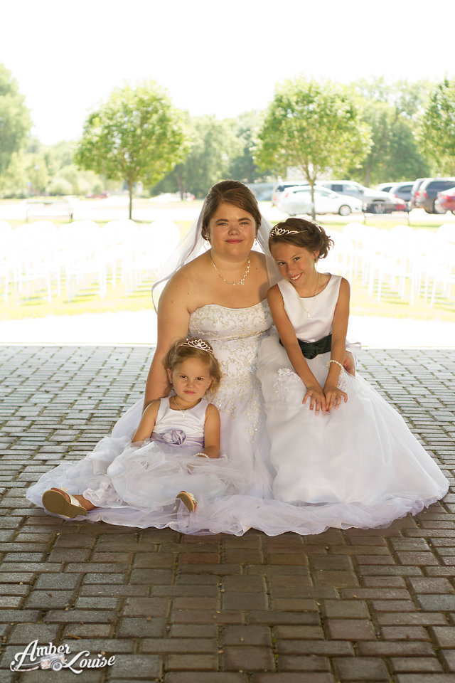 bride and flower girl dresses