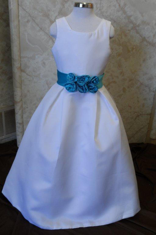flower girl white and pool blue dress