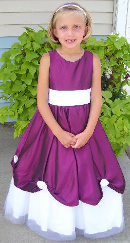purple and white pageant dress