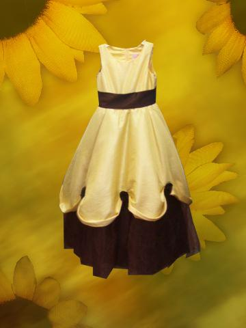 lemon yellow rand chocolate brown flower girl dress